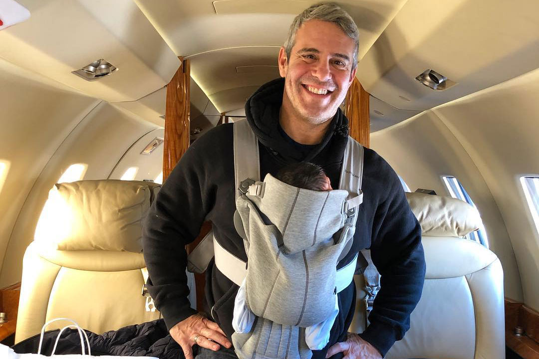 Andy Cohen and Baby Benjamin Allen on Private Jet