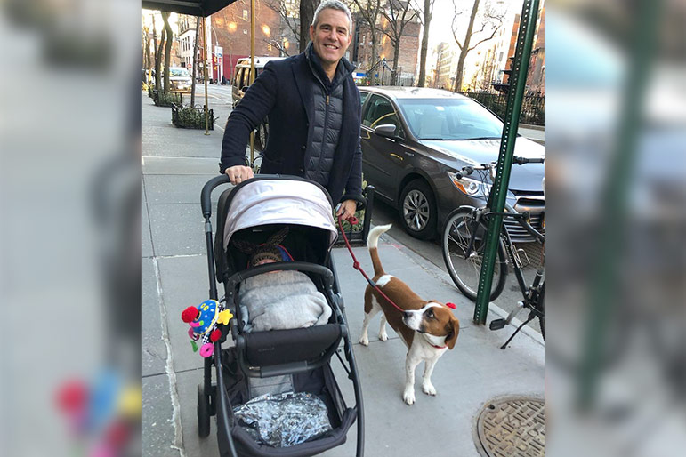 Andy Cohen walks Benjamin Allen Cohen in stroller