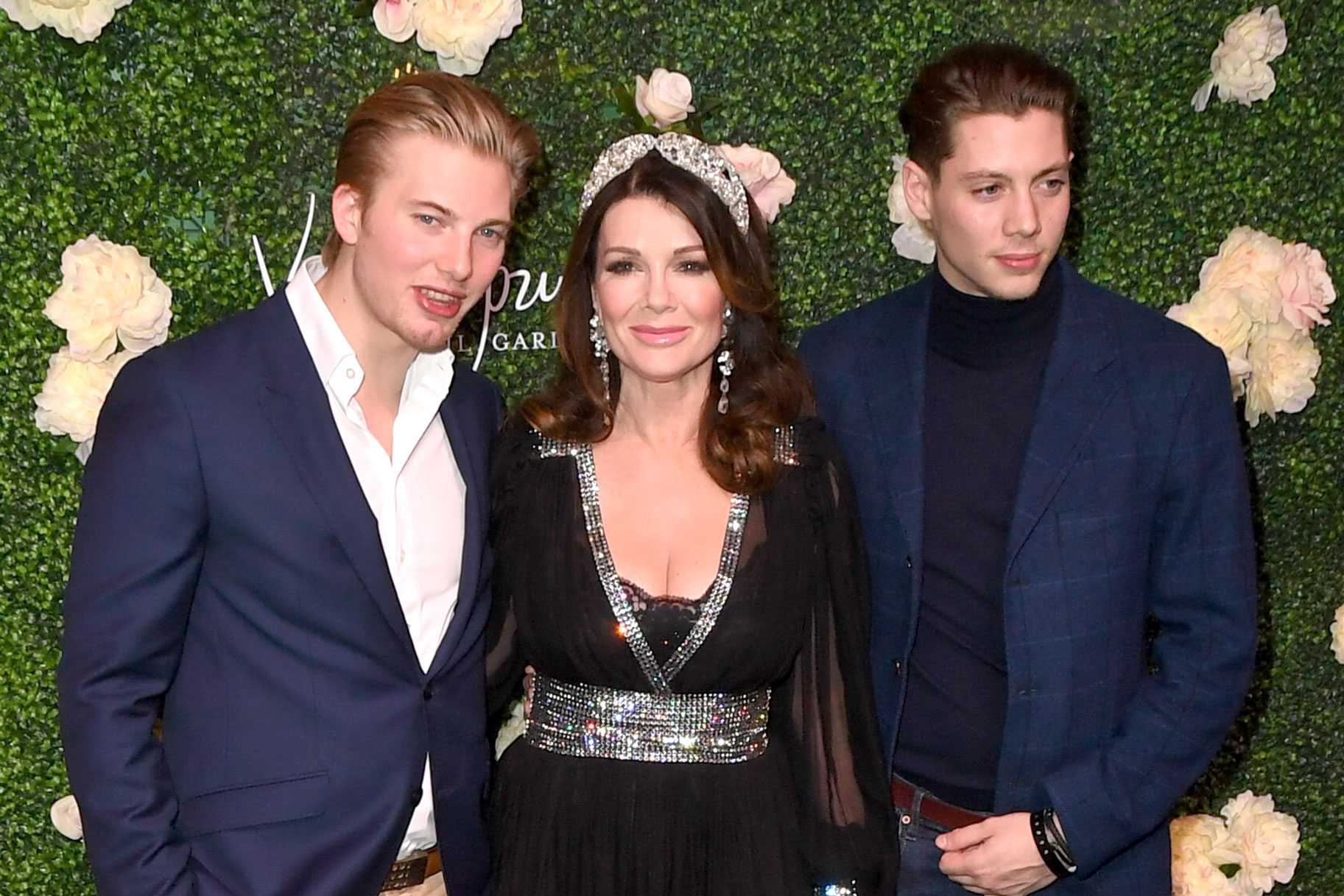 Lisa Vanderpump with Nephews Sam and Jack Vanderpump at Vanderpump Cocktail Garden Opening Party