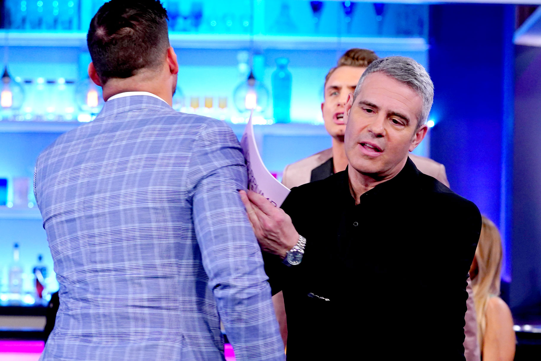 Jax Taylor, Andy Cohen, James Kennedy at Vanderpump Rules Season 7 Reunion