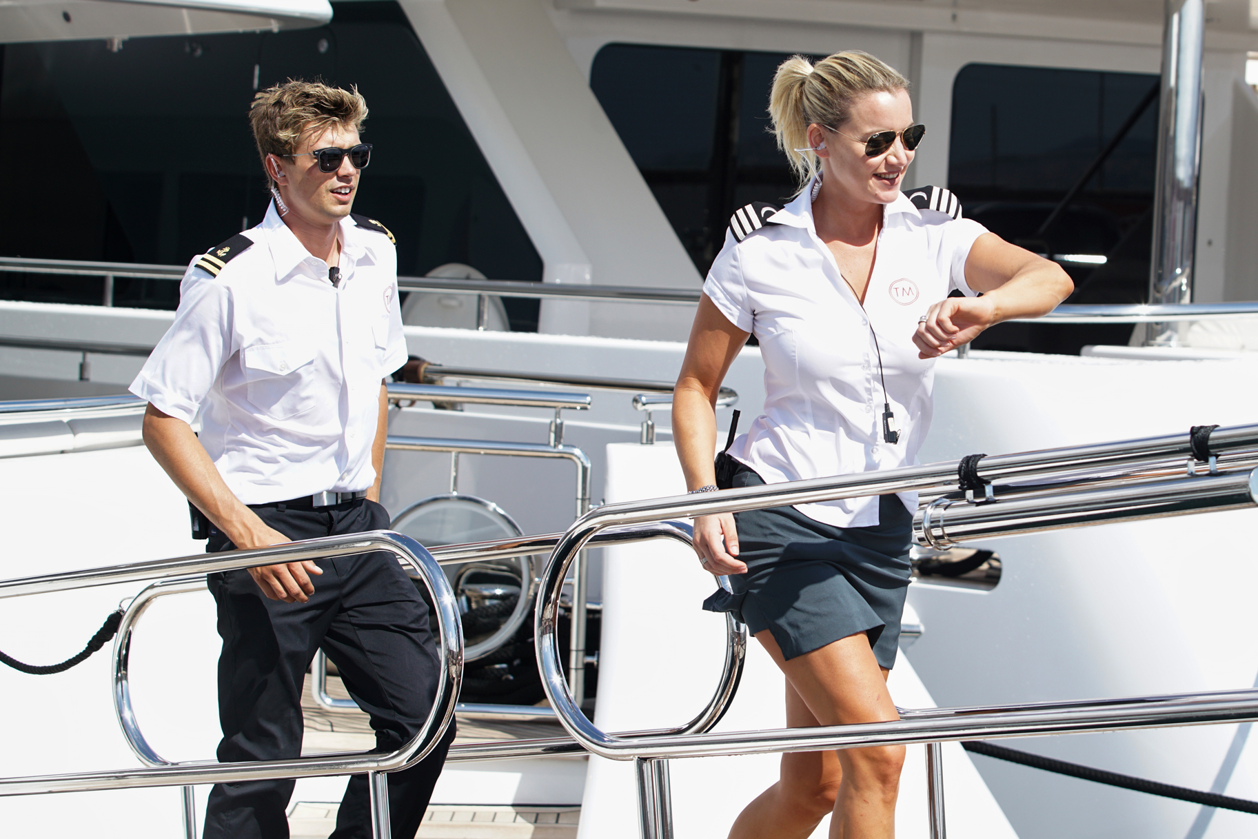 Hannah Ferrier and Conrad Empson in Below Deck Mediterranean Season 3