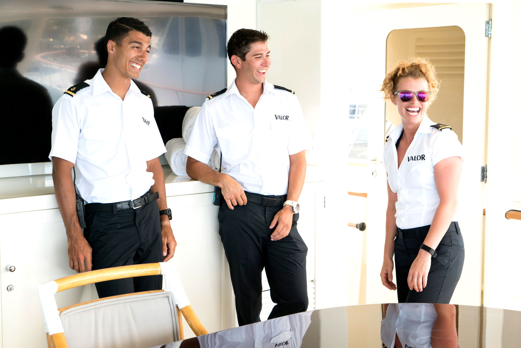 Bruno Duarte, Nico Scholly, and Baker Manning in Below Deck Season 5
