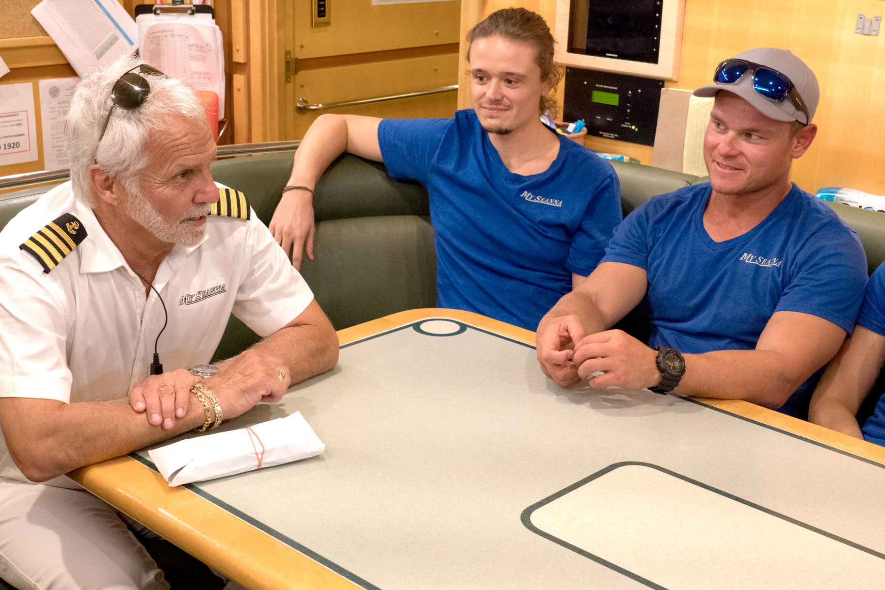 Captain Lee Rosbach, Adrian Martin, Ashton Pienaar in Below Deck Season 6