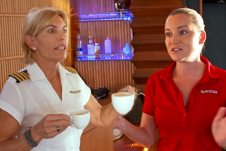 Captain Sandy Yawn, Hannah Ferrier in Below Deck Mediterranean Season 4