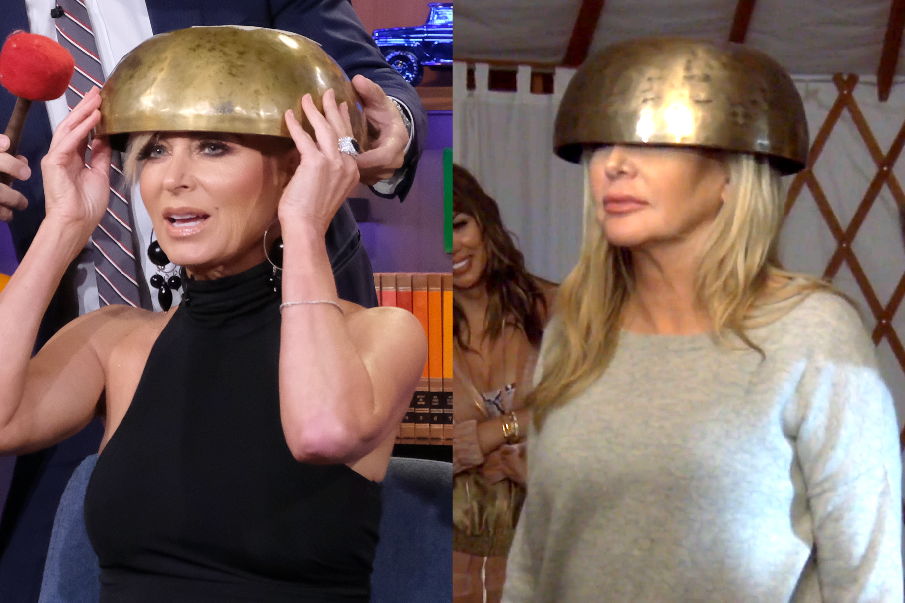 Eileen Davidson Investigates If It Hurts to Have Your Head Hit with a Mallet with a Metal Bowl on It