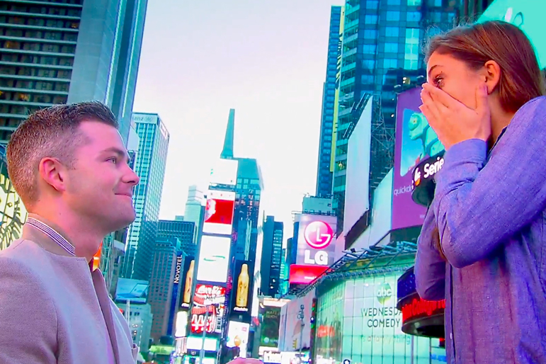 Ryan Serhant Paid Hundreds of Thousands of Dollars to Shut Down Times Square to Propose to Emilia Bechrakis