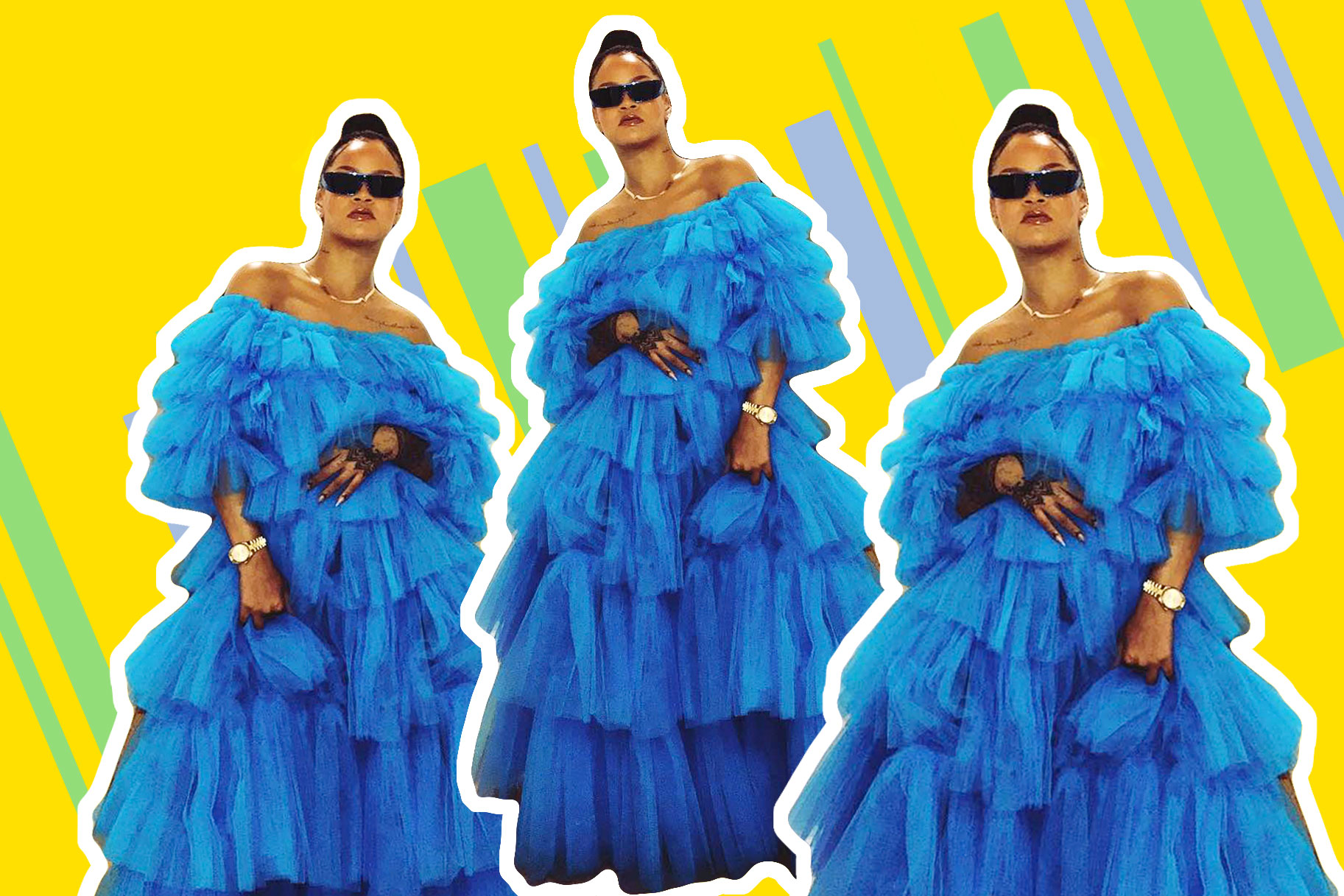 4c89867820711 Rihanna Wears Blue Tulle Ball Gown With Sneakers | Lookbook