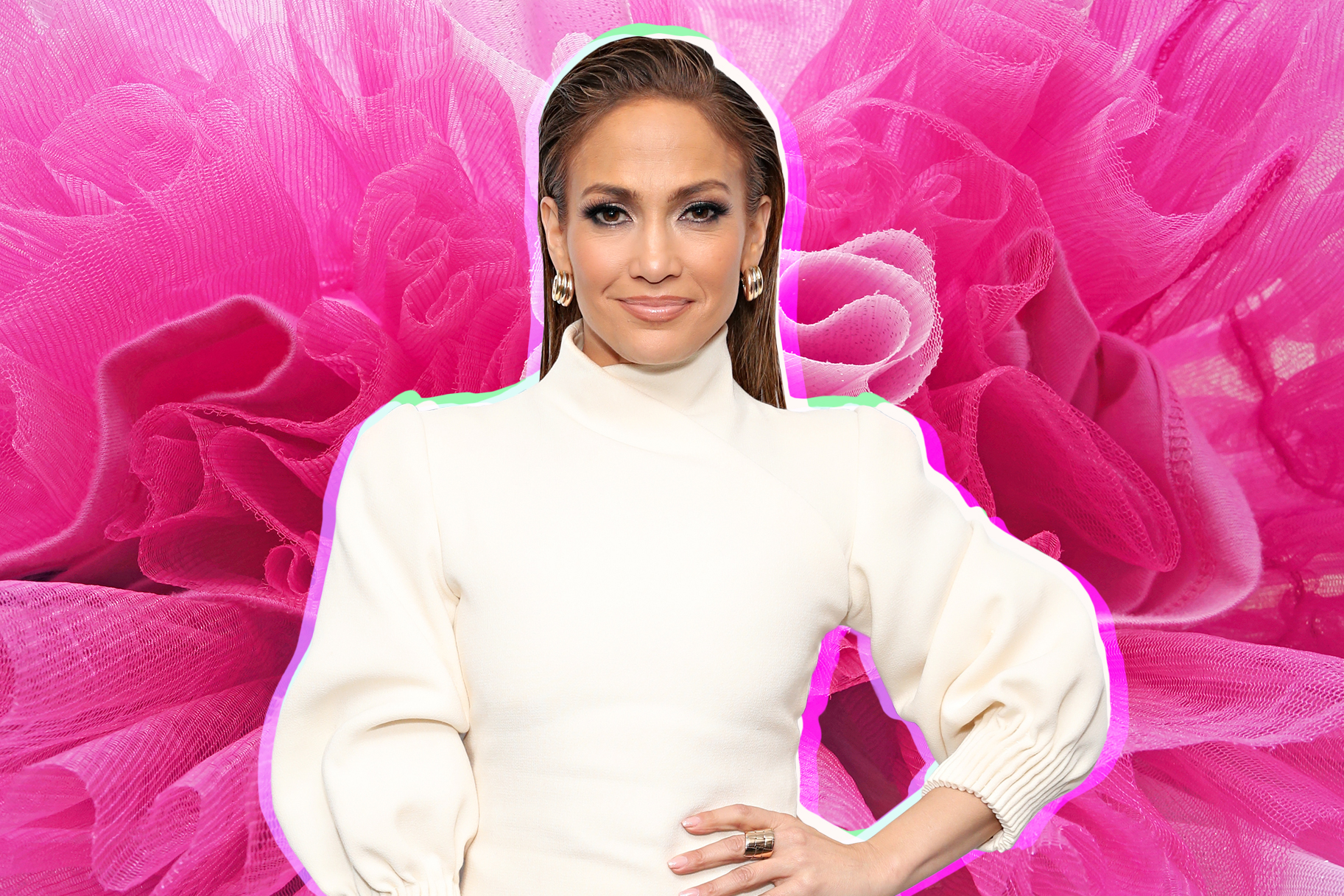 96668857bdc Jennifer Lopez Could Barely Fit Her Gigantic Hot Pink Tulle Ballgown on a  Bus
