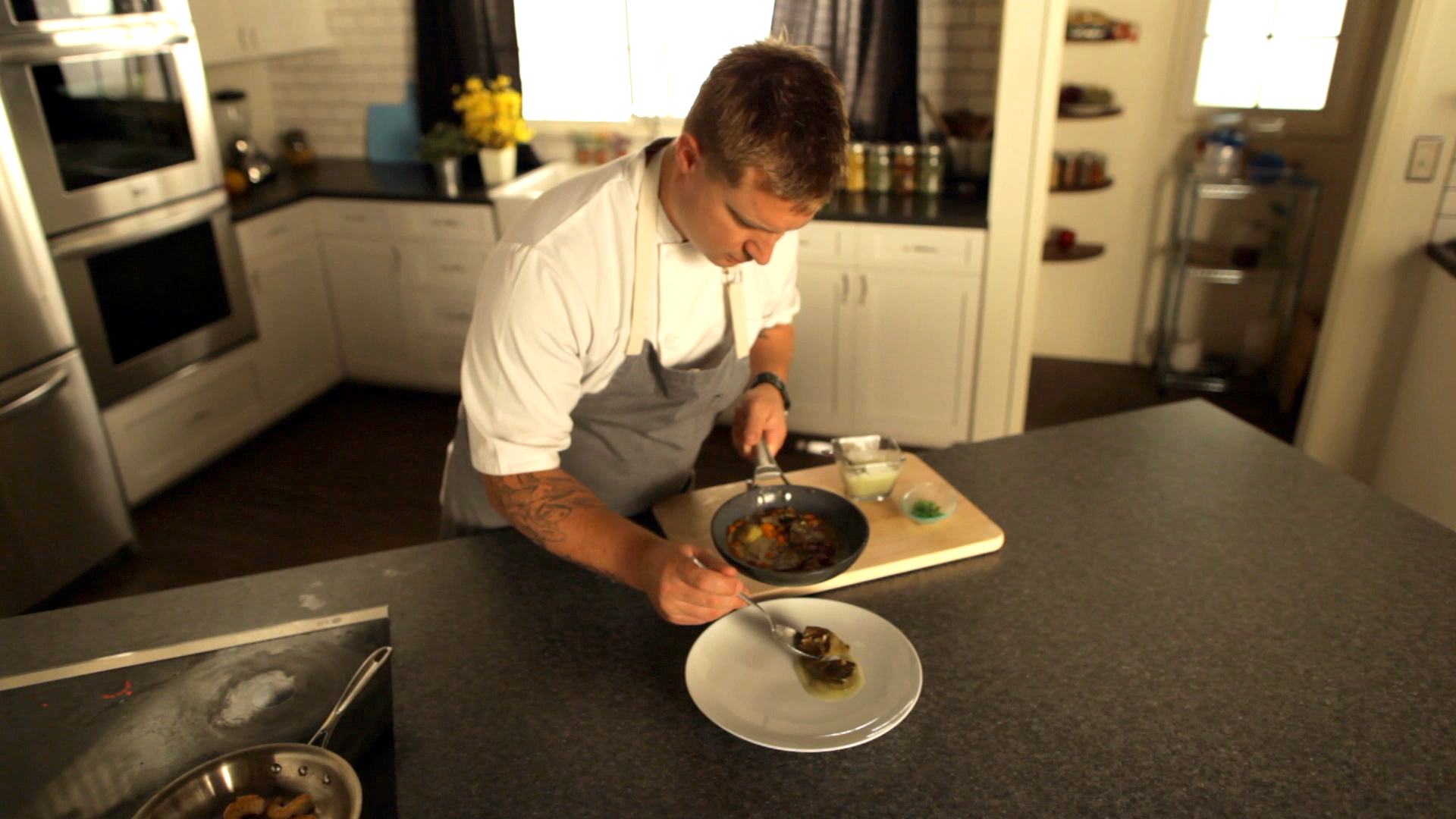 Episode 4: Grilled Shrimp with Roasted Artichokes Barigoule, Fennel Puree, and Andouille