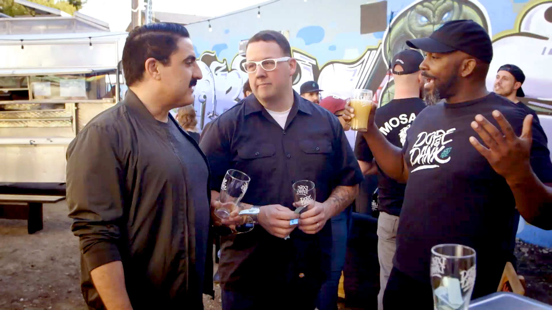 Reza Farahan and Graham Elliot Drink Craft Beer in a Barbershop