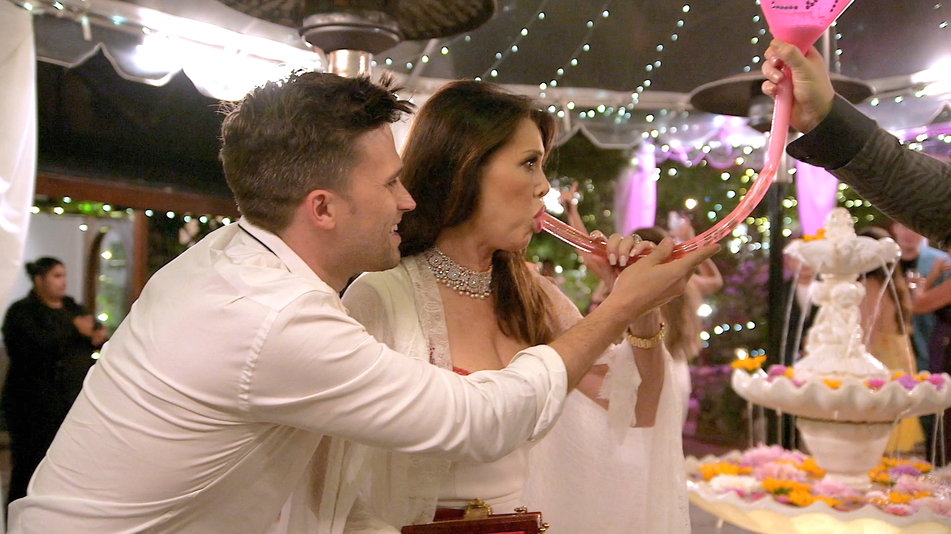 Lisa Vanderpump Leaves a Party the Only Way You Should...By Funneling a Beer!