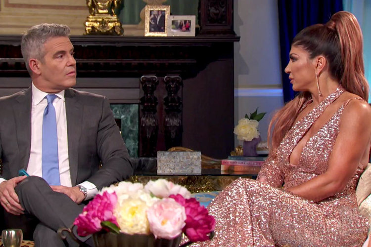 Teresa Giudice and Andy Cohen at The Real Housewives of New Jersey Season 9 Reunion