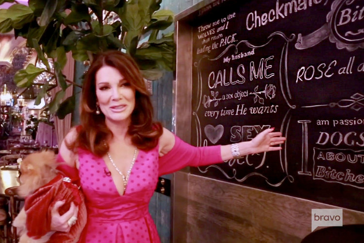 Lisa Vanderpump Cocktail Garden Chalkboard Wall
