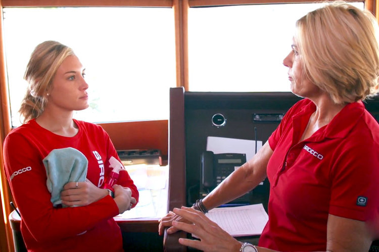 June Foster and Captain Sandy Yawn in Below Deck Mediterranean Season 4