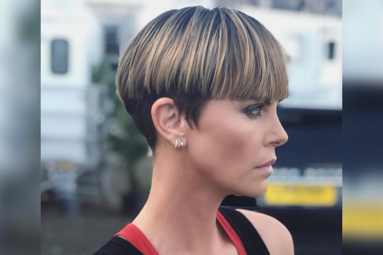 Charlize Theron Bowl Cut