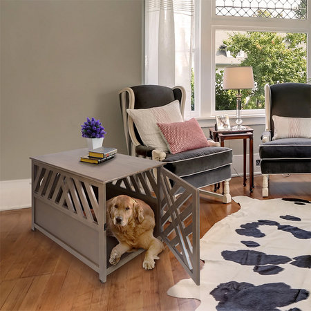 Gray Barn Haney-Jardine Lattice Grey Wooden Pet Crate/ End Table