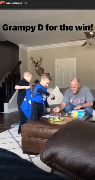 Donn Gunvalson with Grandsons Owen Culberson and Troy Culberson at Their Home in North Carolina