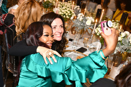 Phaedra Parks and Jenni Pulos-Nassos at Andy Cohen's Baby Shower