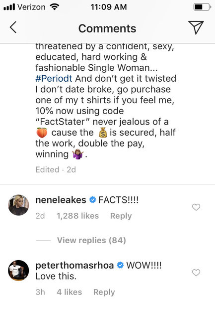 Nene Leakes and Peter Thomas praise Marlo Hampton on Instagram