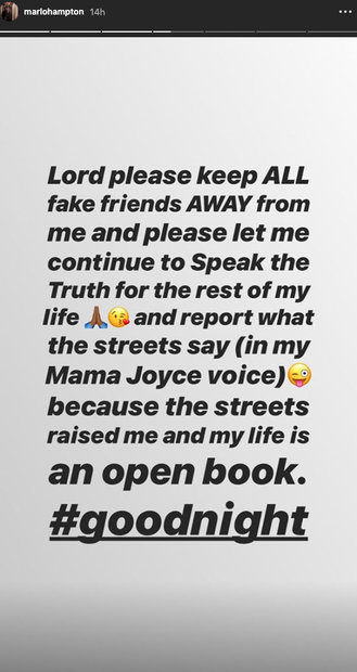 Marlo Hampton shares prayer in Instagram Story