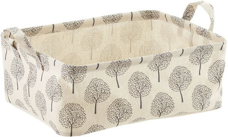Natural Tree Print Fabric Storage Bins with Handles