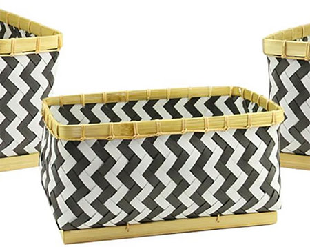 Kaemingk Set of 3 Basic Luxury Gunmetal Gray and White Chevron Baskets