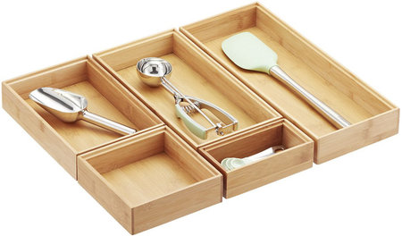 Stackable Bamboo Drawer Organizers