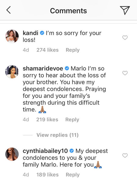 The Real Housewives of Atlanta Comment on Marlo Hampton's Instagram
