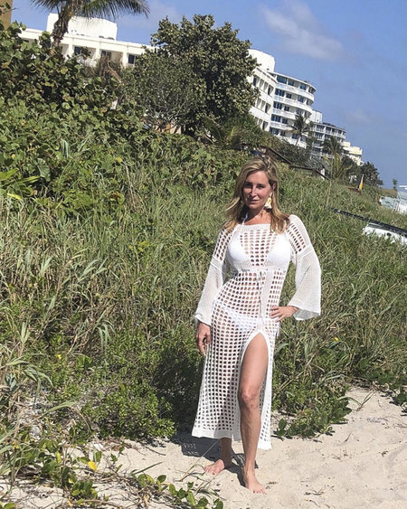 sonja morgan white beach coverup