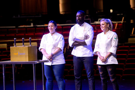 Sara Bradley, Eric Adjepong, and Kelsey Barnard Clark in the Top Chef Season 16 Finale