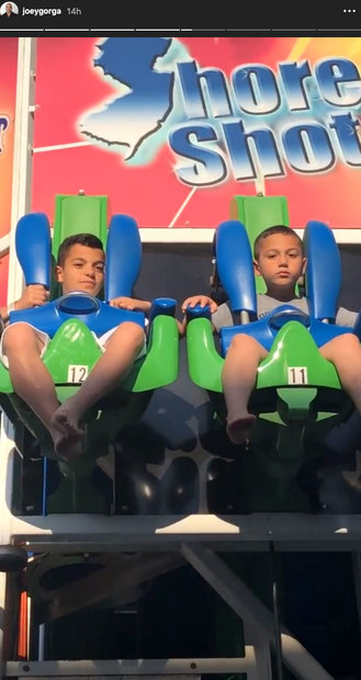 Melissa and Joe Gorga's Sons Gino and Joey on an Amusement Park Ride