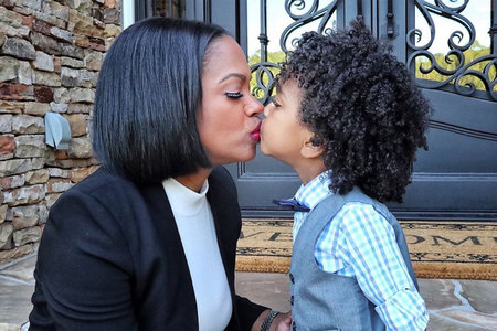 Kandi Burruss Kissing Son Ace on Mouth