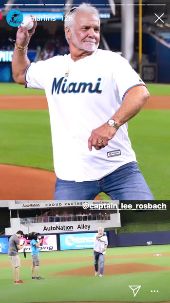Captain Lee Rosbach Throws Pitch at Miami Marlins Game