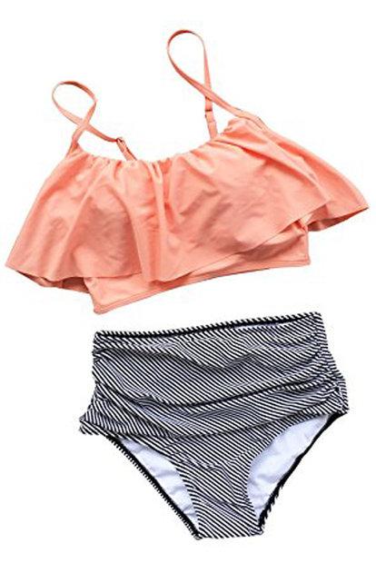 1139c6c773 GIRL AND SEA Womens Falbala High Waisted Stripe Bikini