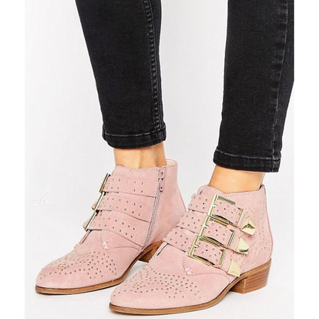 Trend  Western. Office Stud Blush Suede Ankle Boots 21b76afce5f2