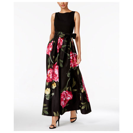 1079ead0d3 Case in point  this peony printed pleated gown by Tahari with an oversized  bow detail at the waist. Bonus mother-daughter points if her bouquet  matches!