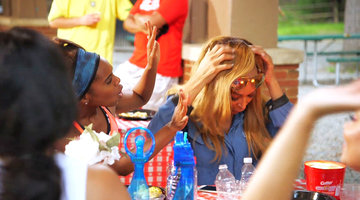 Karen Huger's Wig Moment At the Barbecue
