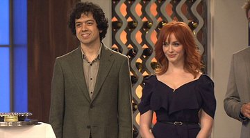 Christina Hendricks and Geoffrey Arend in the Top Chef Kitchen