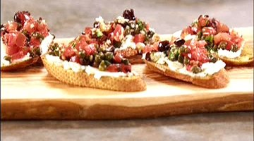Cheese, Tomato and Caper Relish Crostini
