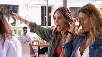 Jennifer Aydin Tosses a Plate and Utensils at Melissa Gorga