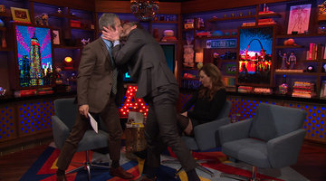 Andy Cohen, Allison Janney & John Benjamin Hickey Kiss in the Clubhouse!