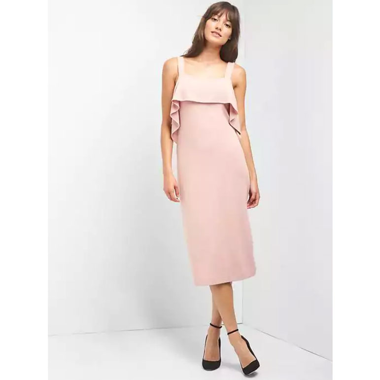 e6ea27b2781 Blush is apparently the wedding guest dress color of the year. This shift  dress is simple in theory