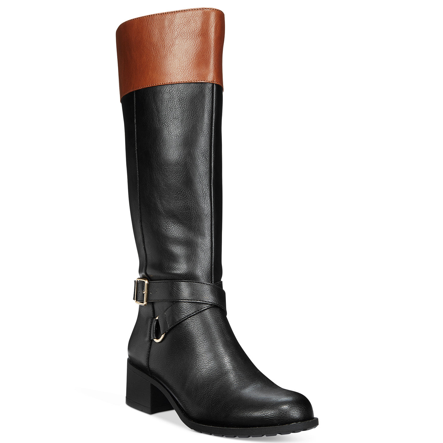 b9e0cc78a7cb A contrast of black and brown offers a stylish upgrade on classic  equestrian boots — and this pair s wider shaft means your feet won t go  numb the moment ...